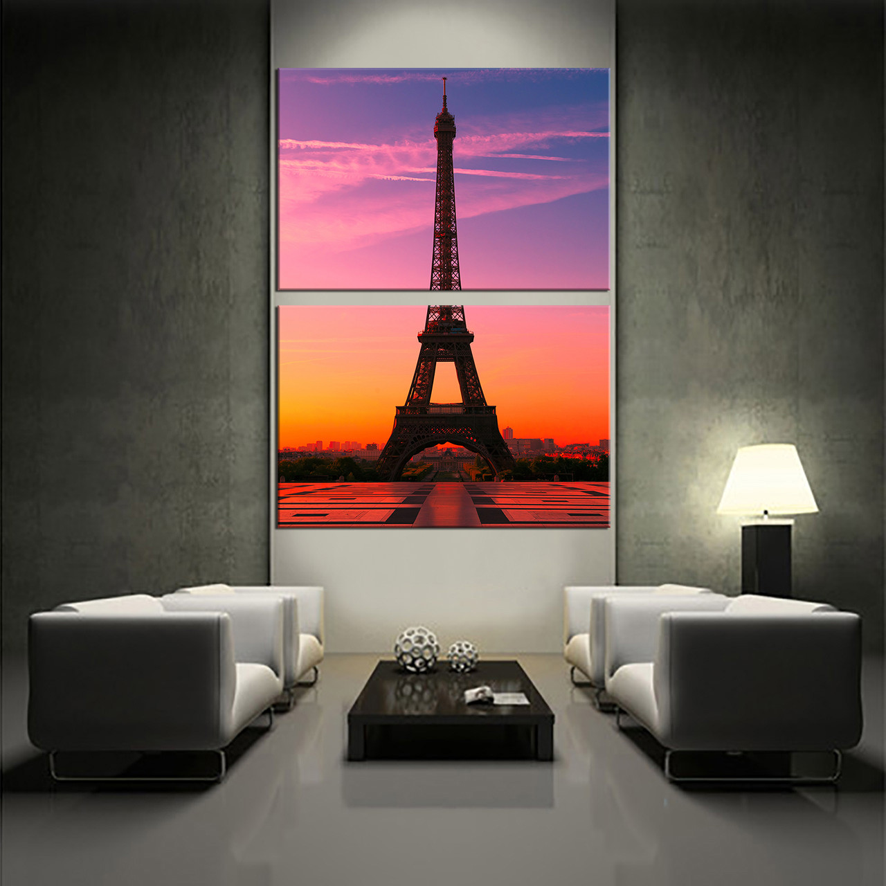 2 Piece Huge Pictures, Eiffel Tower Canvas Photography, Purple Group  Canvas, Beautiful City Part 75