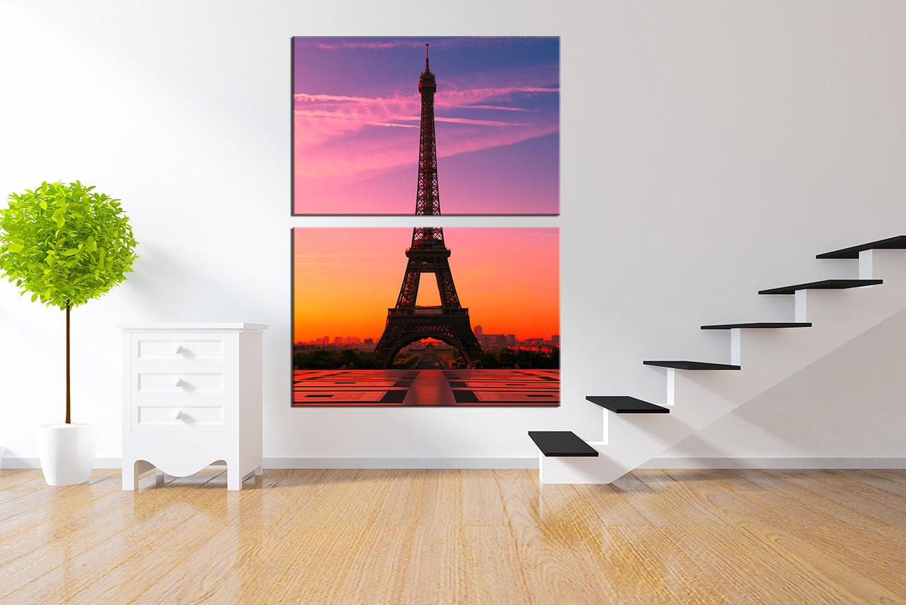 2 Piece Canvas Wall Art, Eiffel Tower Wall Decor, Purple Photo Canvas,  Beautiful
