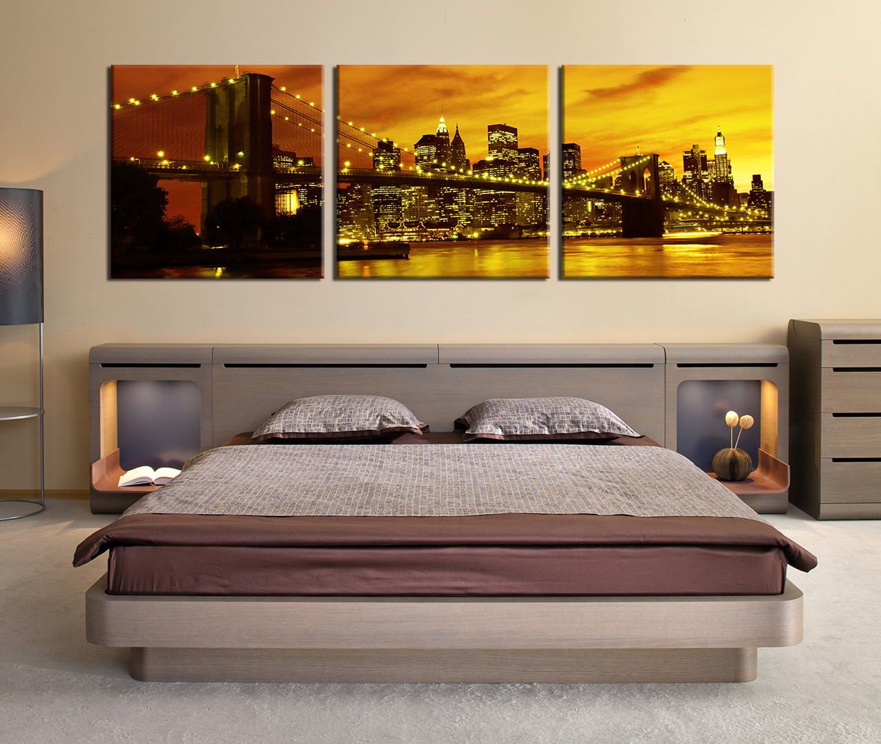 Large Framed Wall Art New York City Landscape Sunset: 3 Piece Multi Panel Canvas, City Huge Canvas Art, New York
