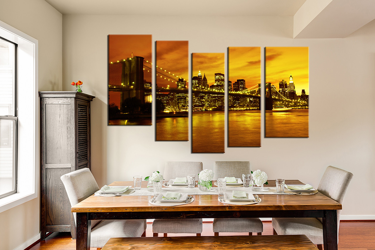 5 piece artwork city canvas photography new york city group canvas bridge canvas wall decor. Black Bedroom Furniture Sets. Home Design Ideas