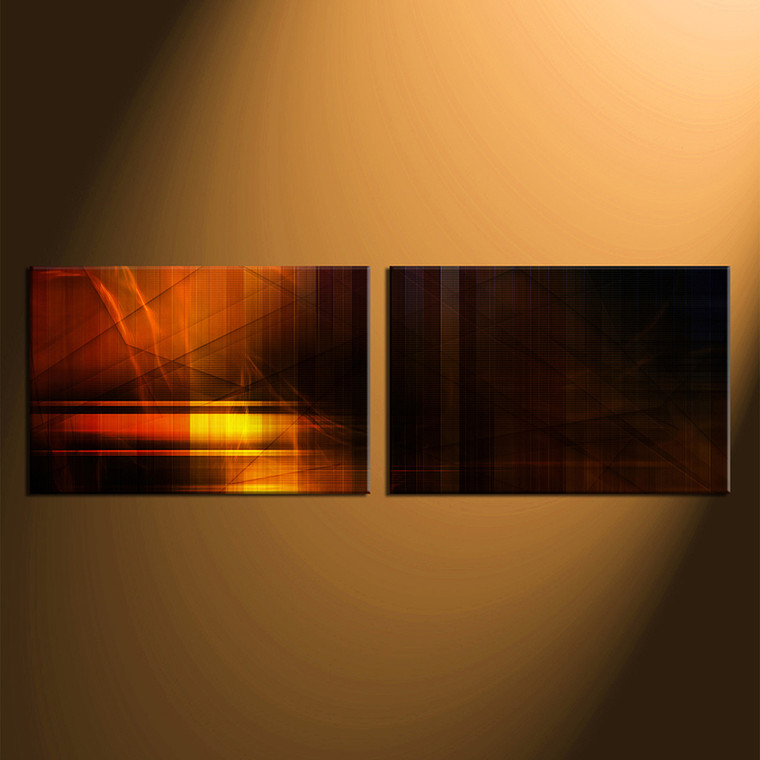 2 piece canvas wall art orange abstract large pictures. Black Bedroom Furniture Sets. Home Design Ideas