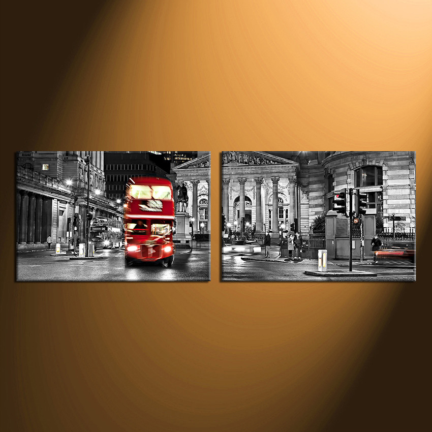 2 Piece Canvas Wall Decor, City Artwork, Black and White Huge Canvas ...