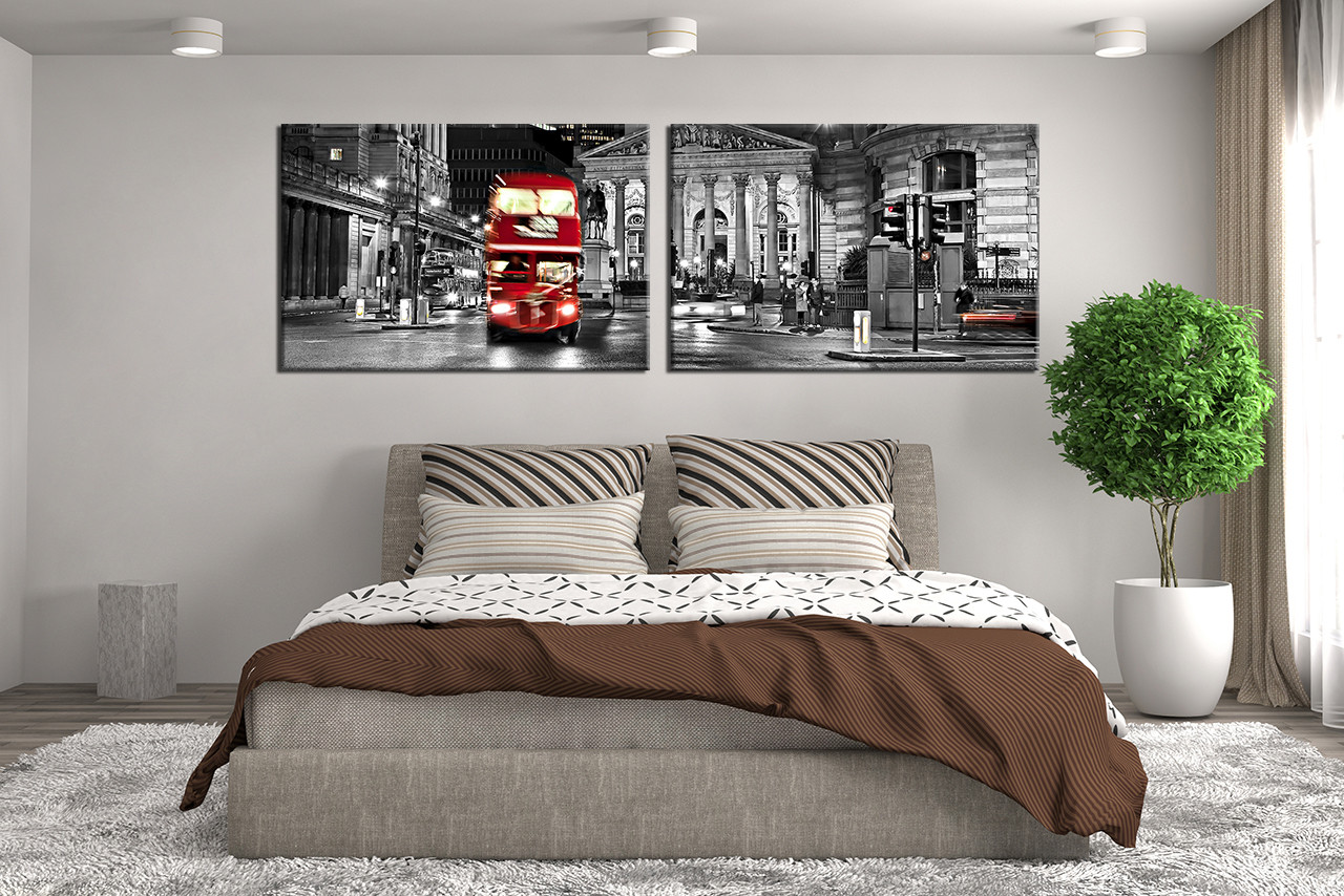 2 Piece Canvas Wall Decor City Artwork Black And White Huge Canvas