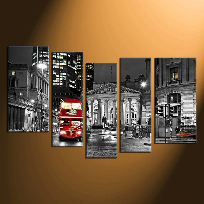 5 piece canvas print home decor cityscape huge pictures red bus multi panel