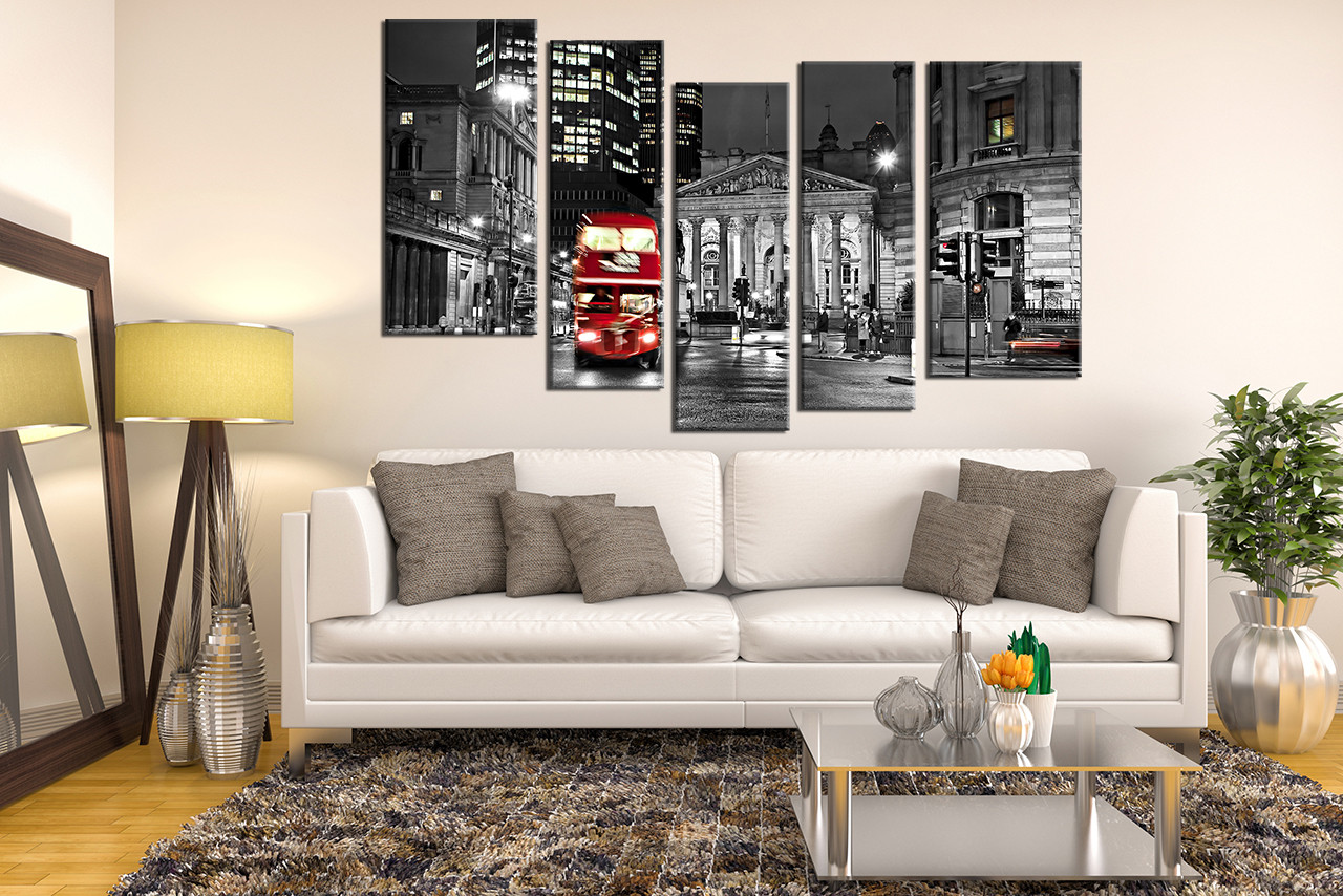5 Piece Group Canvas Living Room Wall Decor Cityscape Large Pictures Red Bus
