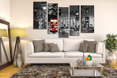 5 piece group canvas, living room wall decor, cityscape large pictures, red bus artwork, building huge canvas print