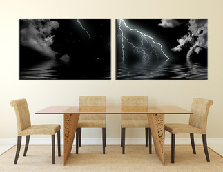 2 piece canvas photography, dining room canvas wall art, thunderstorm large pictures, panoramic art
