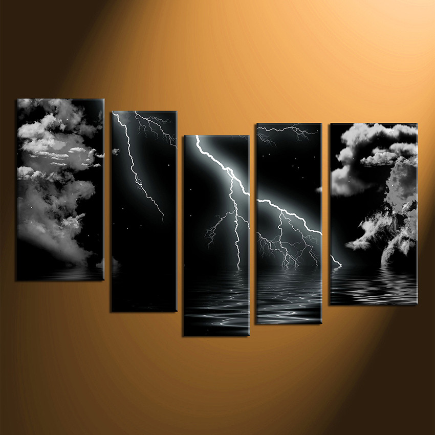 5 Piece Group Canvas, Black and White Wall Decor, Thunderstorm Huge ...