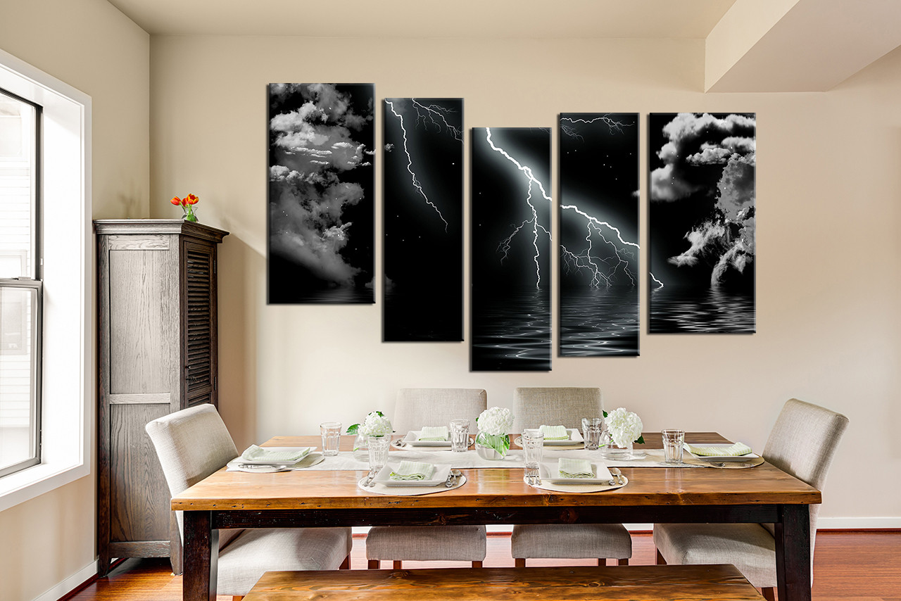 5 Piece Multi Panel Art Dining Room Canvas Photography Black And White Wall