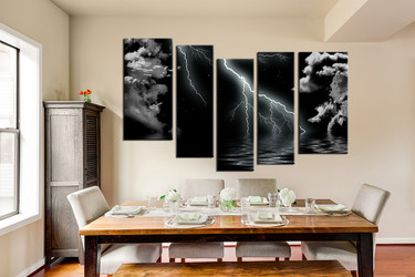 5 piece multi panel art, dining room canvas photography, black and white wall art, grey ocean thunderstorm large pictures