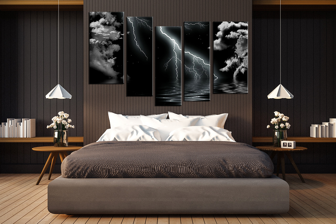 5 piece canvas wall art bedroom huge canvas art gray ocean large pictures & 5 Piece Group Canvas Black and White Wall Decor Thunderstorm Huge ...