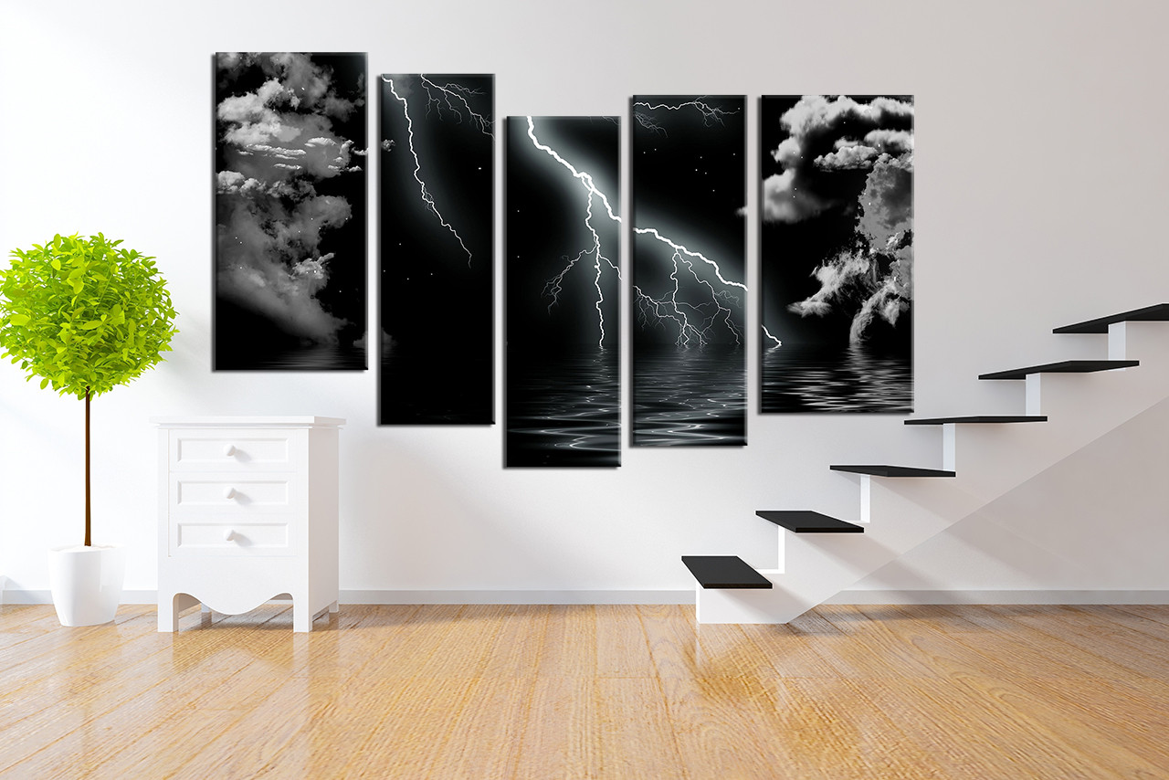living room wall art 5 piece artwork black and white multi panel art & 5 Piece Group Canvas Black and White Wall Decor Thunderstorm Huge ...