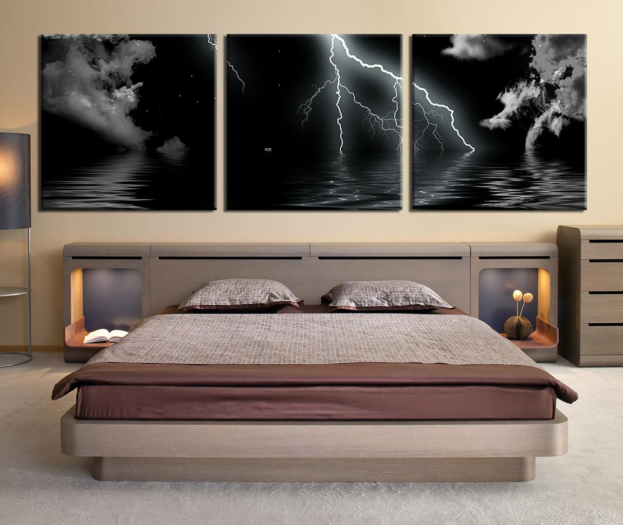 3 piece multi panel art thunderstorm huge pictures ocean