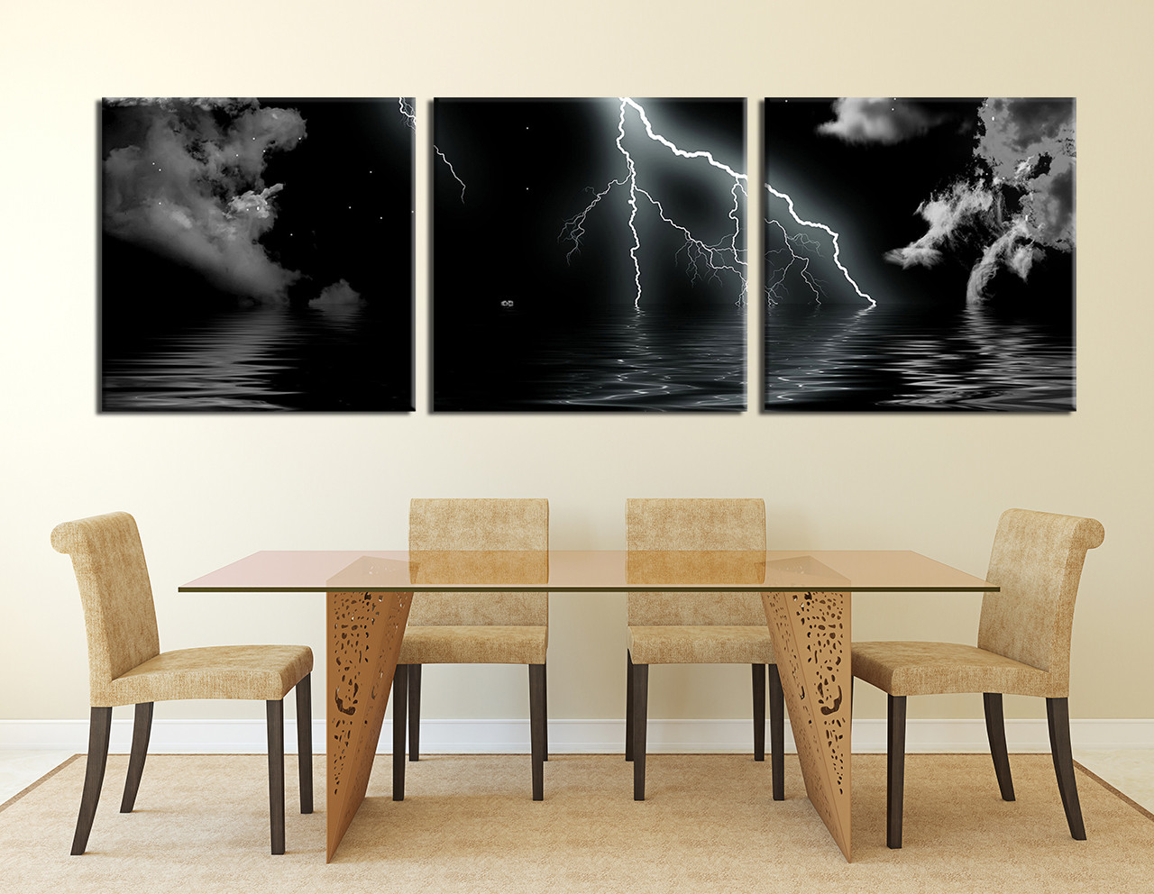 3 Piece Canvas Wall Art Ocean Print Gray Dining Room