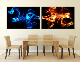 2 piece multi panel art, dining room canvas photography, abstract blue wall art, abstract smoke large pictures