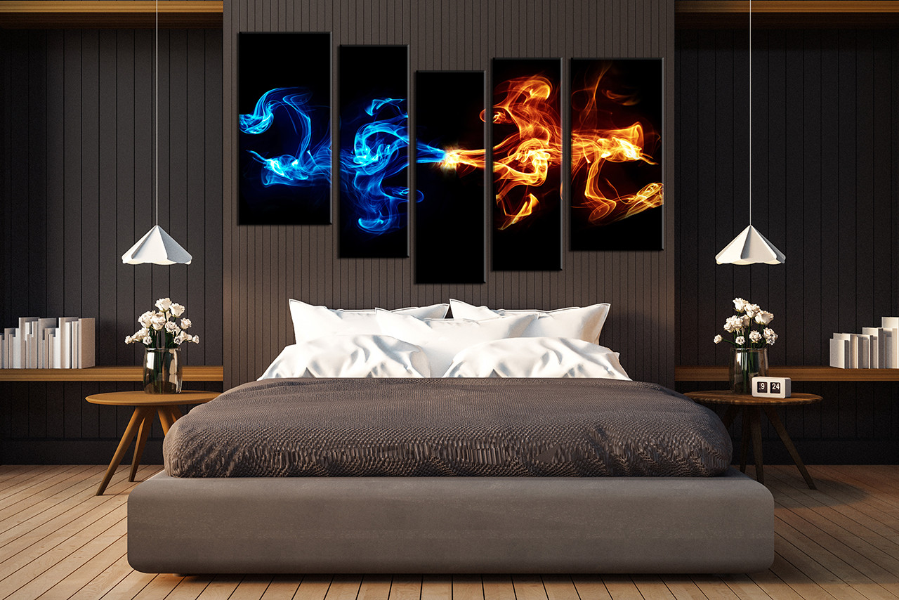 5 Piece Large Pictures, Abstract Blue Smoke Art, Bedroom Multi Panel Art,  Abstract