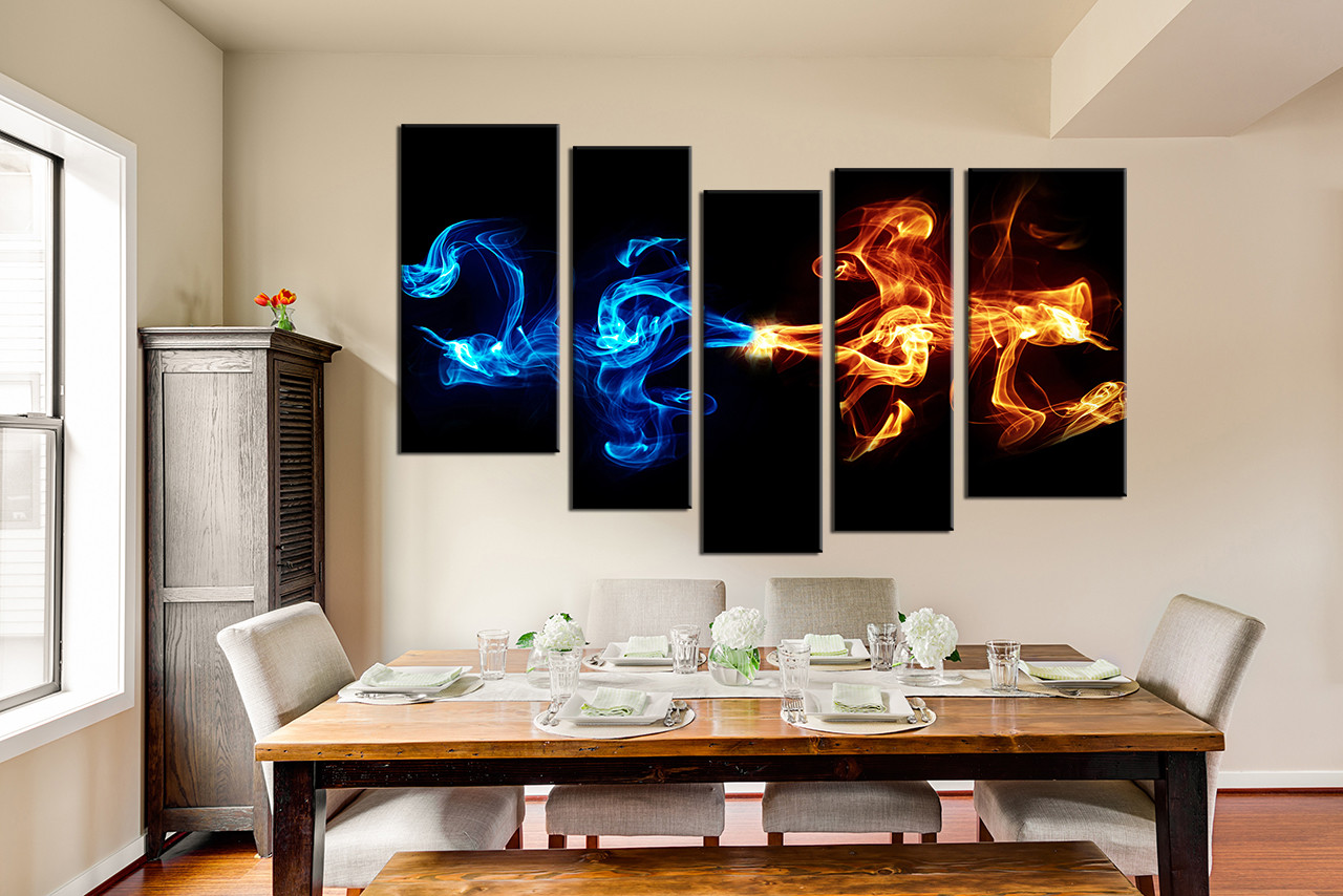 Abstract Canvas Wall Art 5 piece canvas wall art, abstract blue yellow smoke photo canvas