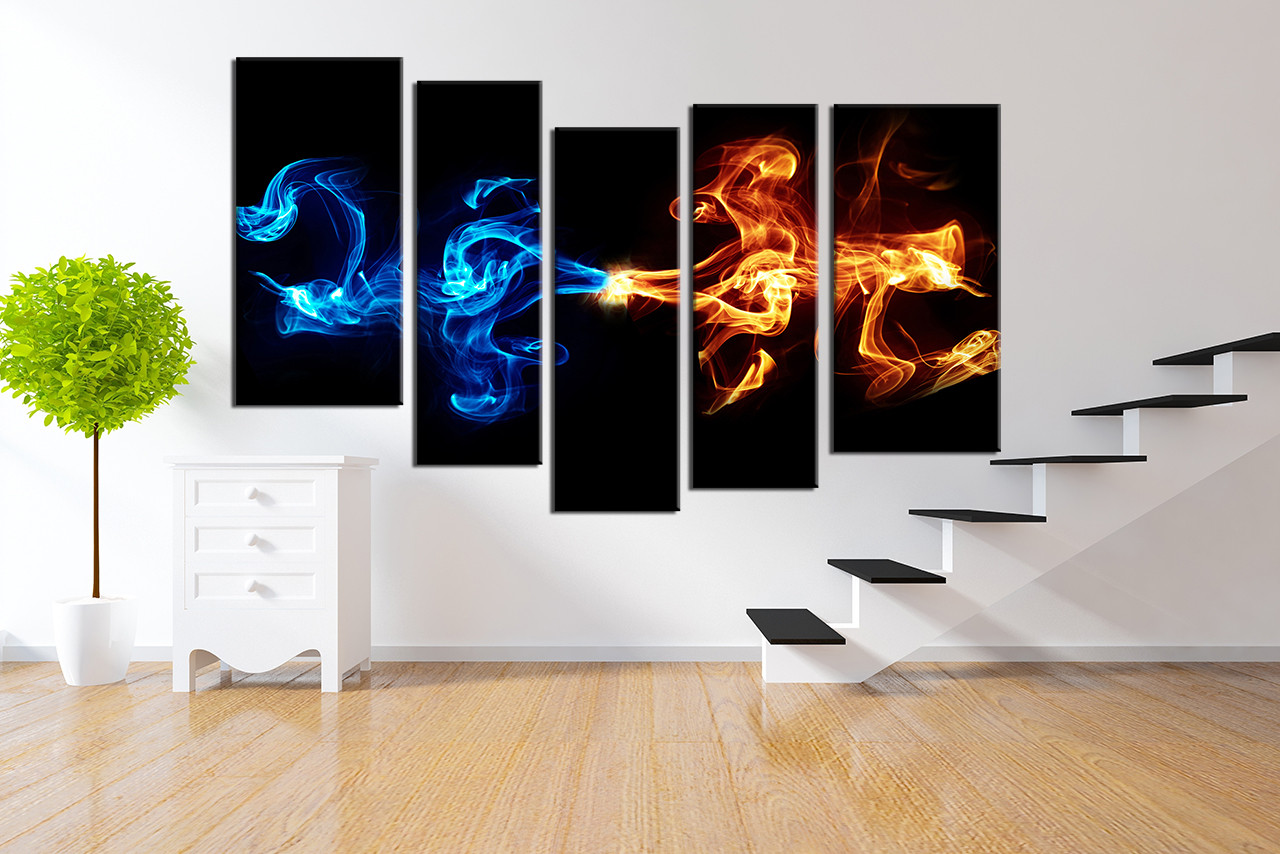 Blue Canvas Wall Art 5 piece canvas wall art, abstract blue yellow smoke photo canvas