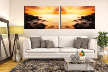 2 piece huge canvas art, living room wall decor, sea multi panel canvas, orange ocean panoramic artwork