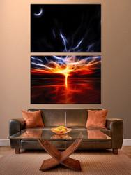 living room art, 2 piece canvas wall art, red abstract decor, abstract artwork, abstract large canvas