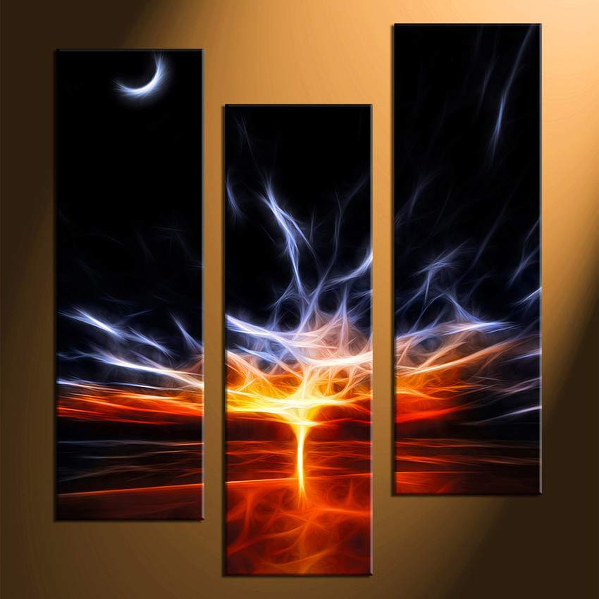 Abstract Canvas Wall Art 3 piece canvas print, red abstract multi panel art, abstract large