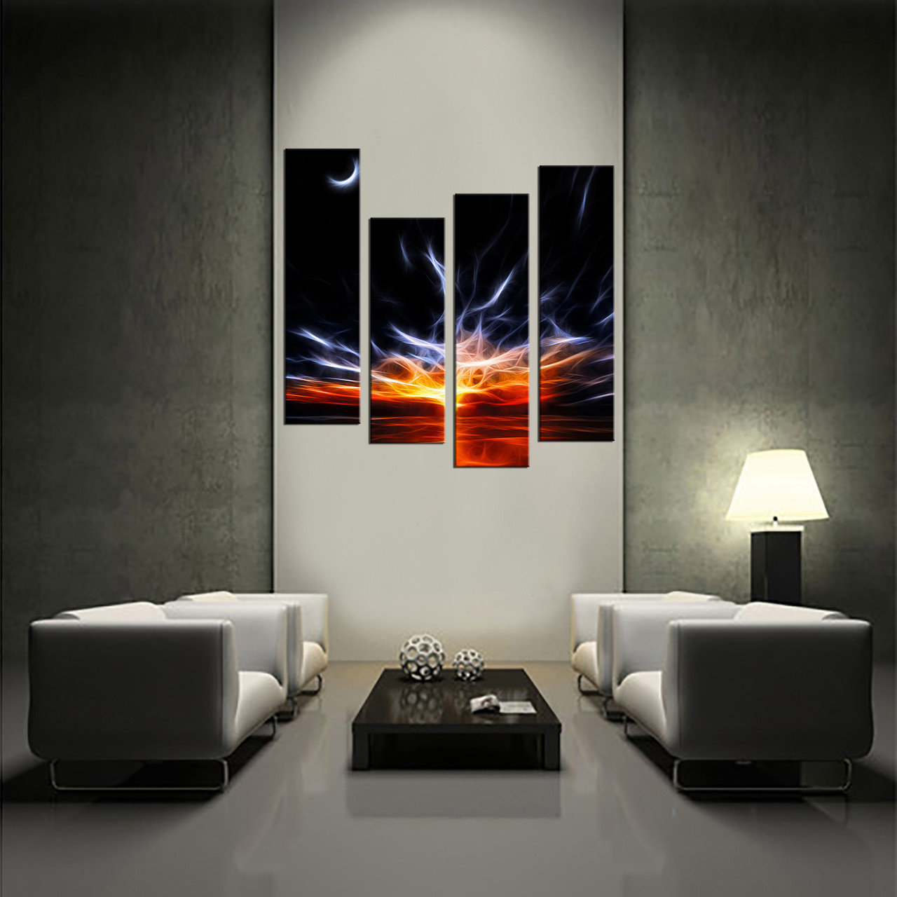piece wall decor crescent moon large pictures orange abstract
