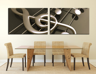 2 piece large canvas, dining room canvas wall art, music huge canvas art, music notes photo canvas, panoramic art