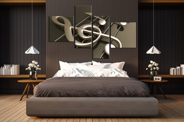 4 piece multi panel canvas, bedroom large canvas, music notes artwork, music photo canvas
