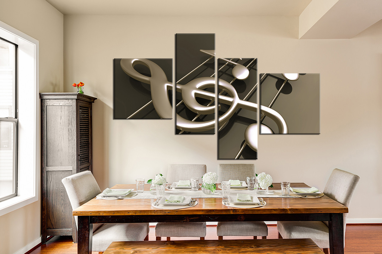 4 Piece Multi Panel Canvas, Dining Room Artwork, Music Note Canvas Wall Art,