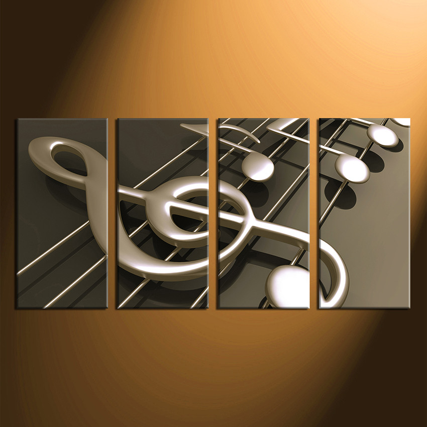 Arts Music Photography: 4 Piece Photo Canvas, Music Notes Huge Pictures, Music