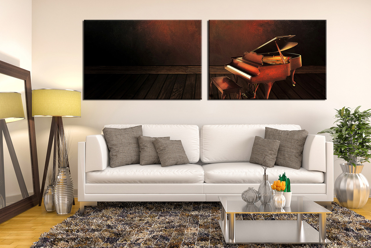 2 Piece Canvas Wall Art 2 piece canvas photography, grand piano wall decor, musical