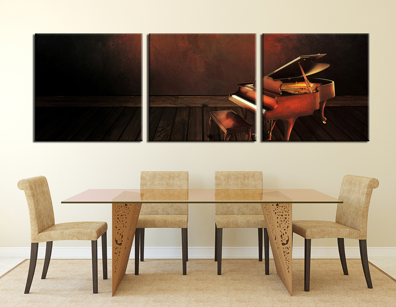 Dining Room Art, 3 Piece Canvas Art Prints, Music Large Pictures, Piano  Multi