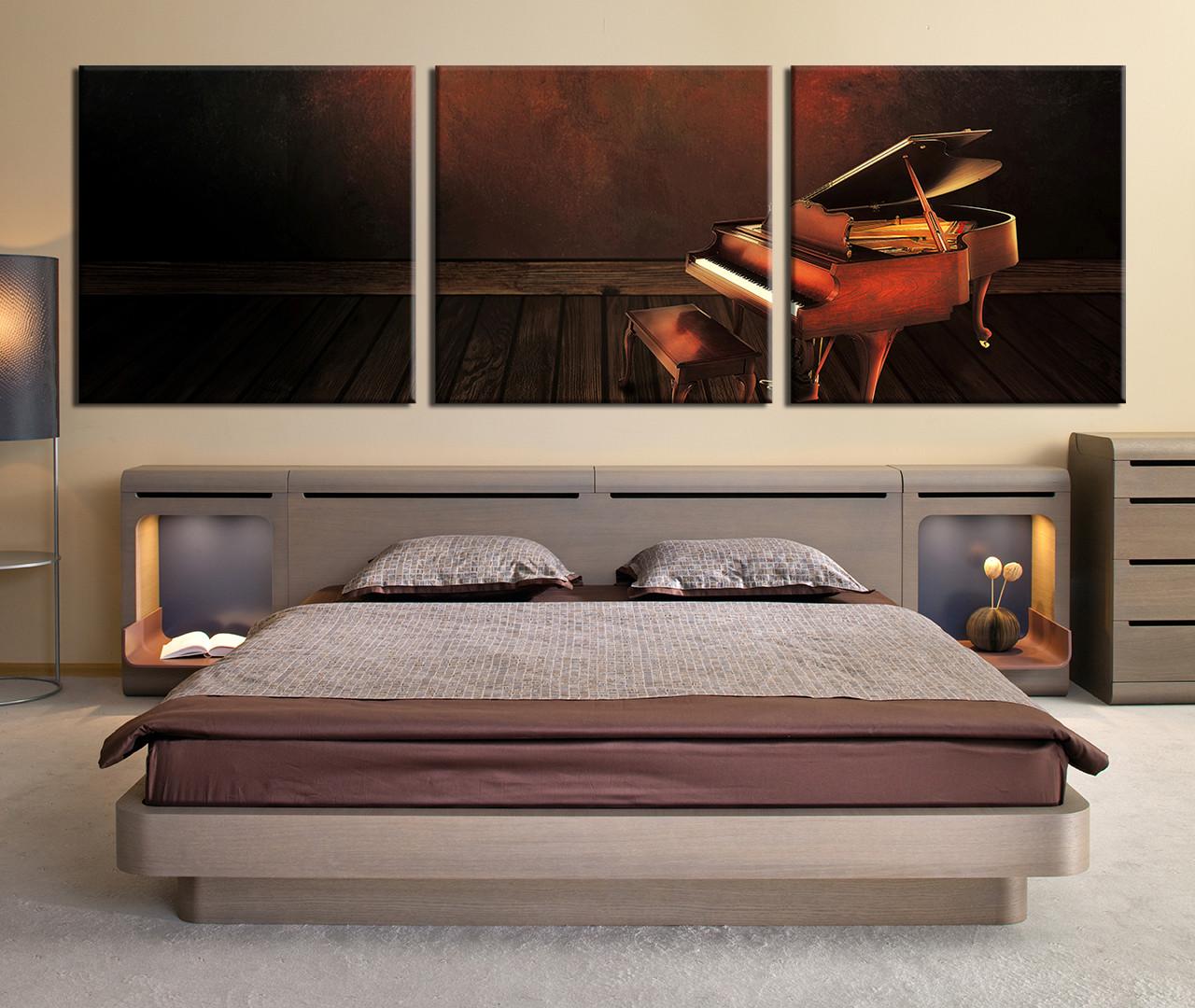 Perfect Bedroom Decor, 3 Piece Wall Art, Music Canvas Art Prints, Piano Multi Panel Part 16