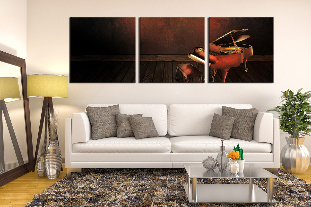 Multi Piece Canvas Wall Art 3 piece canvas wall art, grand piano decor, musical instrument