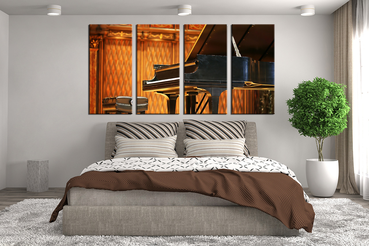 4 Piece Wall Decor, Music Huge Canvas Art, Orange Artwork, Grand ...