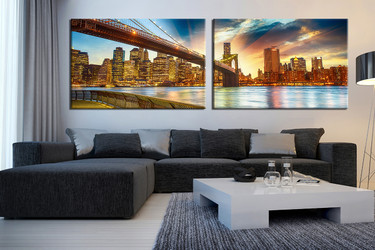 2 piece canvas wall art, living room wall decor, yellow huge pictures, city multi panel canvas, panoramic huge canvas art