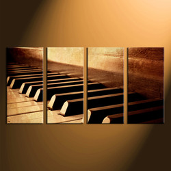 4 piece canvas art prints, piano photo canvas, music instrument canvas wall art, brown large canvas, home decor