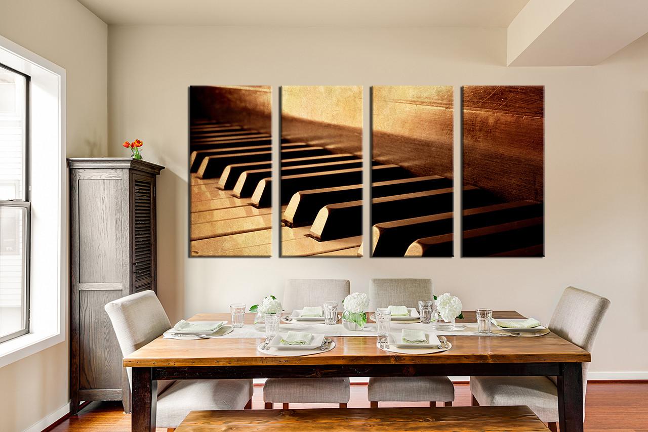4 Piece Wall Art, Brown Multi Panel Art, Musical Instrument Artwork, Piano  Art