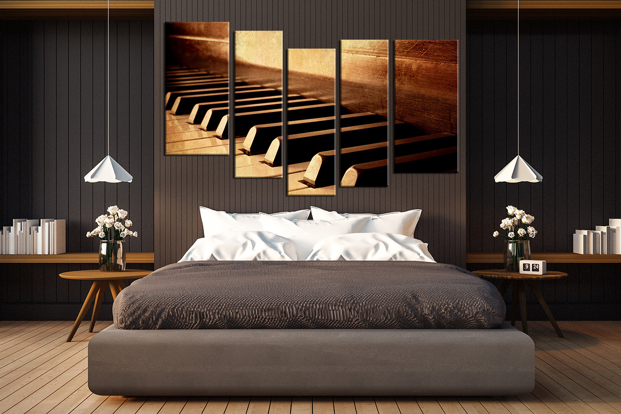 5 Piece Group Canvas, Piano Art, Music Multi Panel Art, Brown Huge ...