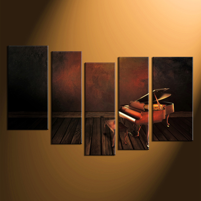 5 Piece Canvas Wall Art, Home Decor, Grand Piano Canvas Print, Music Huge