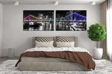2 piece large pictures, bedroom huge canvas art, city art, bridge photo canvas, panoramic wall decor