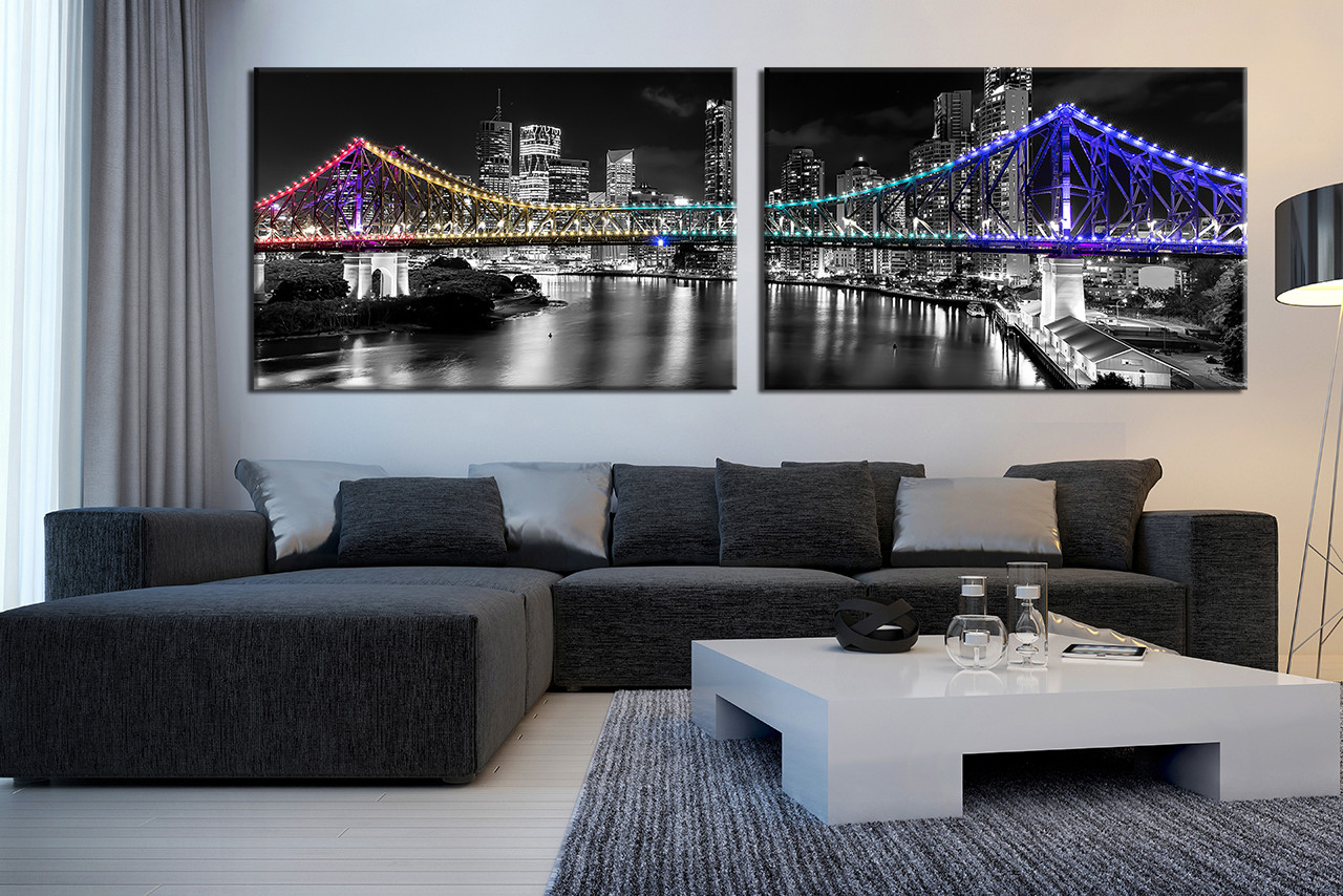 2 Piece Photo Canvas Black And White City Large Canvas