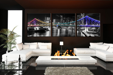 3 piece wall decor, living room group canvas, city canvas photography, bridge canvas wall art, panoramic huge pictures
