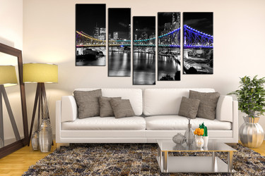 5 piece large pictures, living room wall decor, night city canvas print, gray group canvas, bridge wall decor