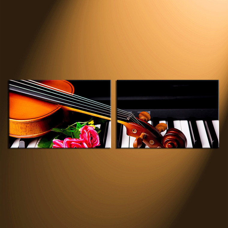 2 piece group canvas musical wall canvas print rose. Black Bedroom Furniture Sets. Home Design Ideas
