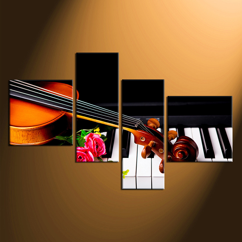 Finest 4 Piece Huge Pictures, Musical Canvas Wall Art, Rose Photo Canvas  JP14