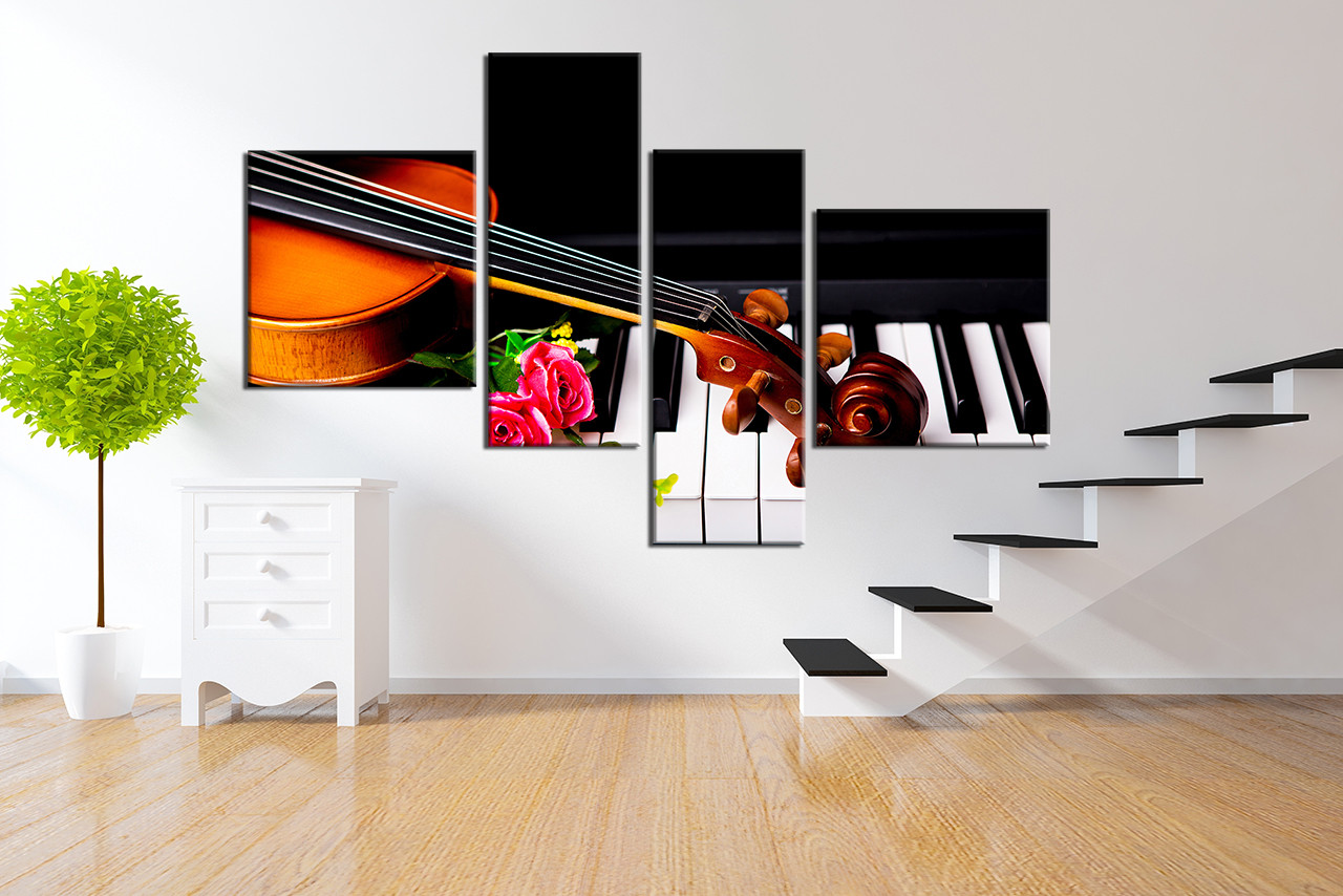 4 Piece Canvas Wall Art, Piano Artwork, Floral Group Canvas, Music Photo  Canvas