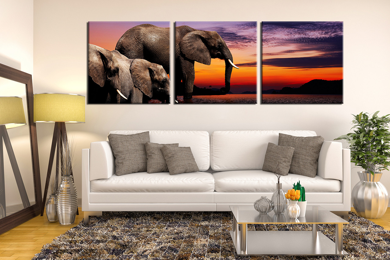 3 Piece Canvas Photography, Elephant Huge Pictures, Water Wall Art ...