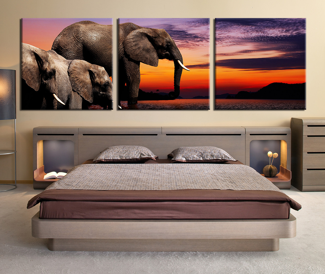 3 Piece Canvas Photography Elephant Huge Pictures Water Wall Art