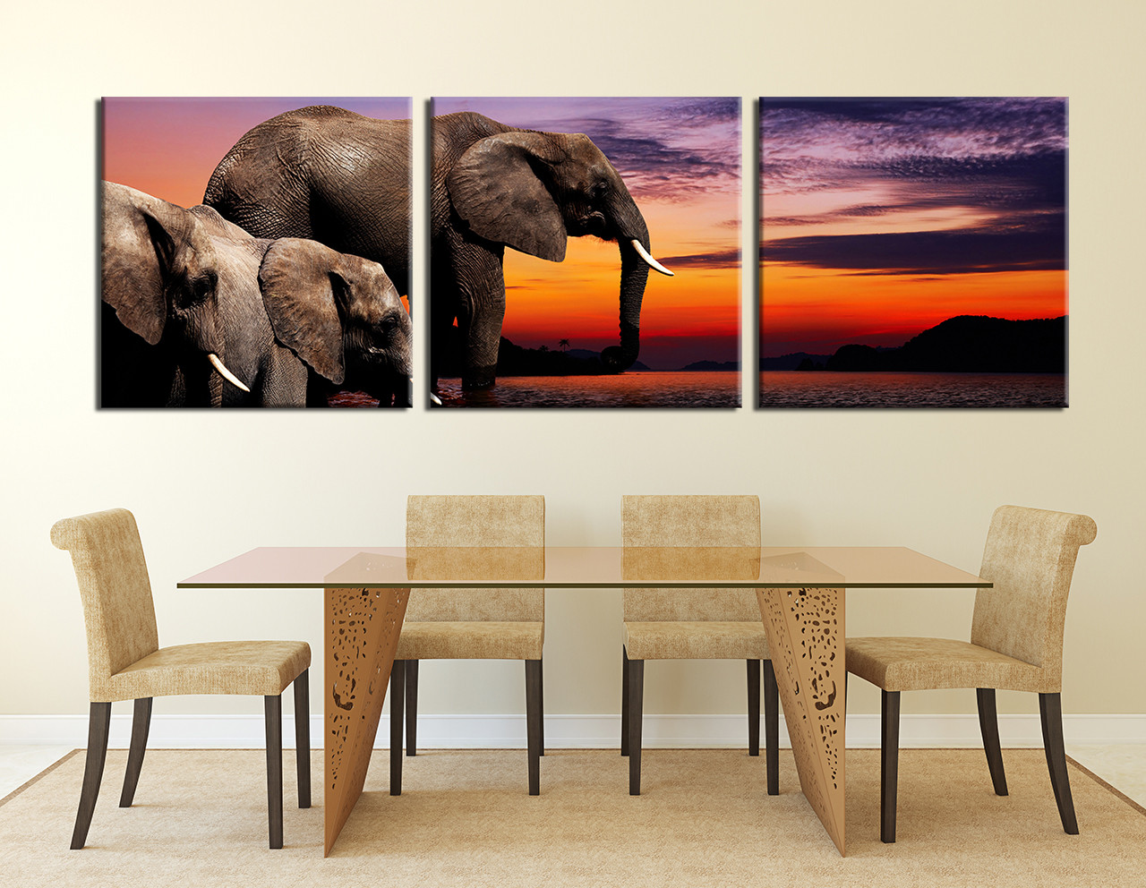 3 piece canvas photography elephant huge pictures water wall art 3 piece canvas photography dining room canvas wall art elephant huge canvas art amipublicfo Image collections